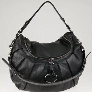 GUCCI Black Pebbled Leather Icon Bit Medium Bag
